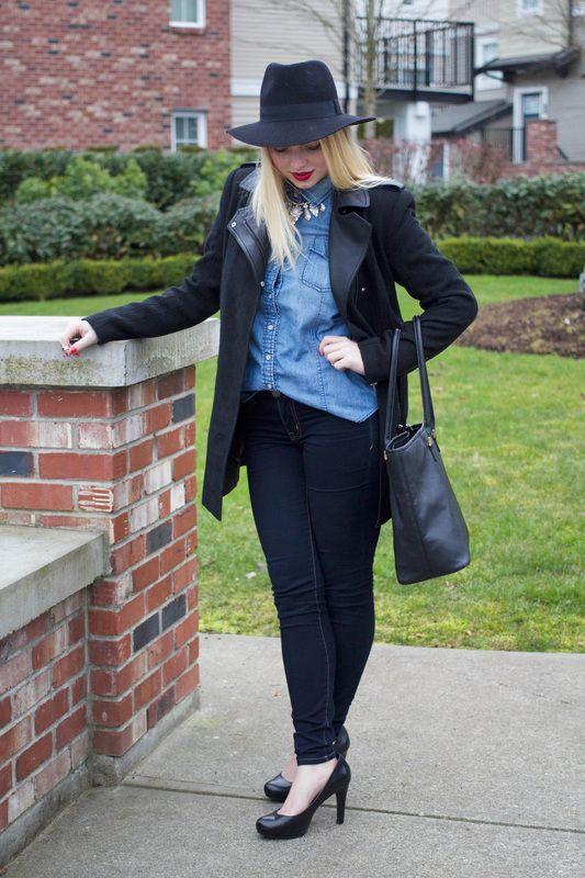 asos skater coat, joe fresh chambray, forever21 hat, aldo necklace, jessica simpson jeans, franco sorta heels, h&m purse, estee lauder lipstick