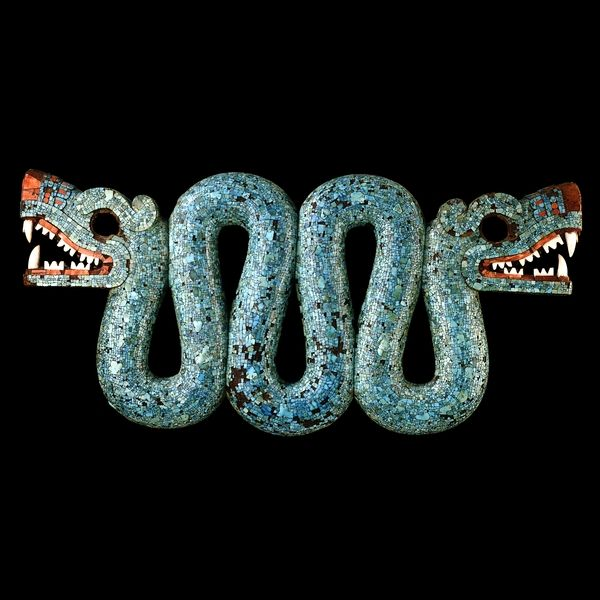 Double-headed Serpent Carving (Aztec, ca. 1500 AD, wood, turquoise, spondylus, and conch)