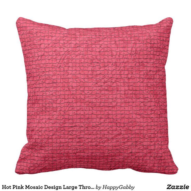 Hot Pink Mosaic Design Large Throw Pillow