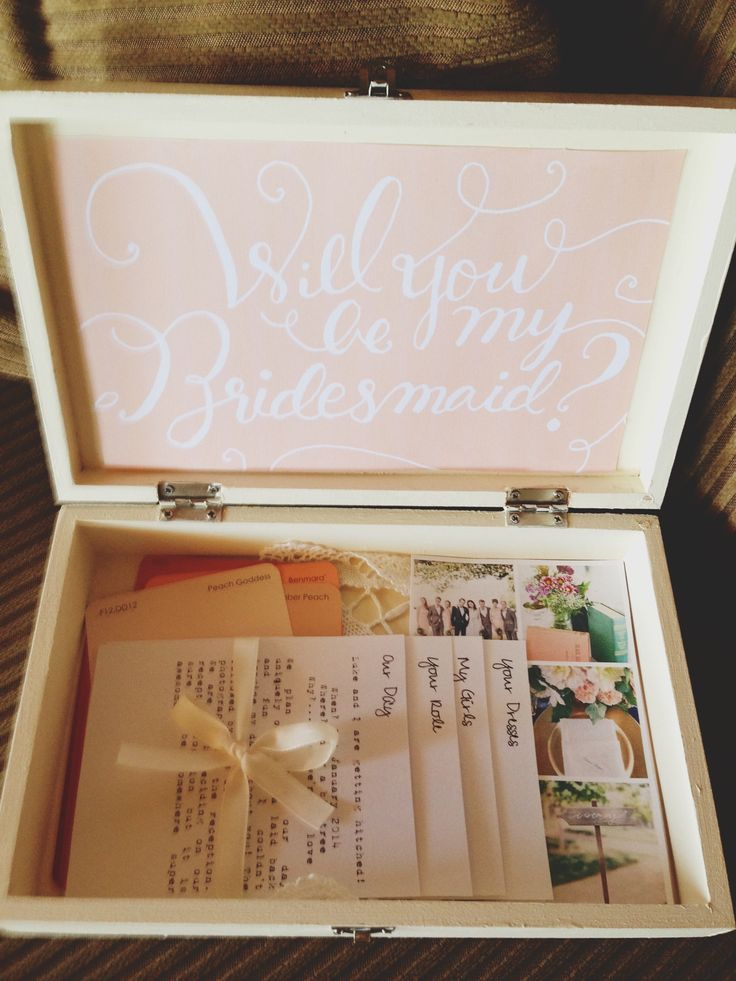 Be my bridesmaid box. i like the lace doily in the bottom and the pretty pink and white cardstock in the lid