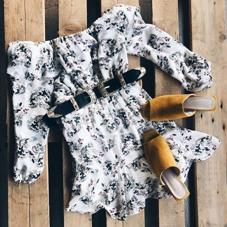 Lilyfields Off Shoulder Dress ☆ Follow us @popcherryau for more Popcherry fashion ☆ floral // playsuit  // pretty // belt // mustard heels