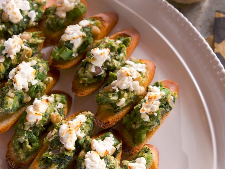 Beans and Greens Bruschetta with Broiled Goat Cheese recipe from Nancy Fuller via Food Network