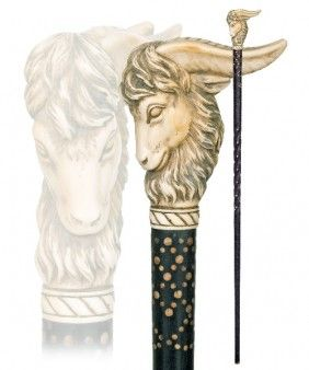 6. Ram Ivory Cane- Late 19th Century- A Substantial Ram