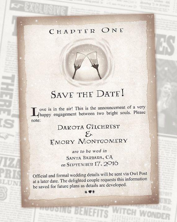 Harry Potter sauver le mariage de Geek Date livre chapitre - Invitations numériques-