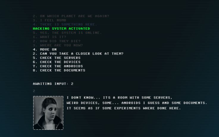 """Code 7, a mix of dialogue choices and a command-line """"hacking"""" interface"""