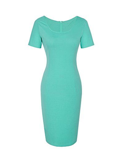 Senfloco Women's Mint Green Scoop Neck Wear to Work Office Party Pencil Dress  Waistline: High Waist  Dresses Length: Knee-Length  Silhouette: Sheath  Neckline:Scoop neck  Sleeve Length: Short Sleeves  Material: 70% Polyester + 25% Cotton +5% Spandex  Color: Mint Green  Size(CN):S M L XL    Size Chart:   Manual measurement may exist 1-2cm difference.  CN Small  Bust:81cm/31.9″ Shoulder:37cm/14.6″ Sleeve: 19cm/7.5″ Waist:66cm/26.0″ Hip:85cm/33.5″ Length:96cm/37.8″    CN Medium  Bust:8..