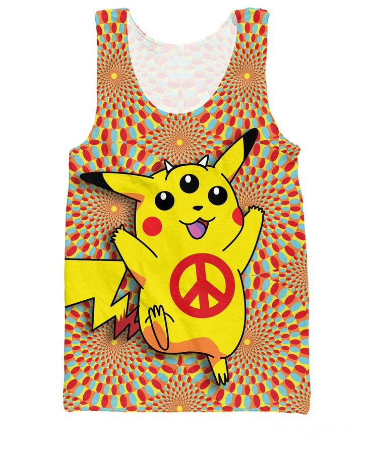 RuiYi Women Men tees Vest Jersey Pikachu Peace Trip Tank Top Stay fly with Buddha Pop's trippy Pokemon Pikachu illuminati