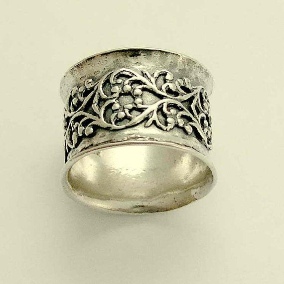 Wide sterling silver wedding band with filigree by artisanimpact, $142.00
