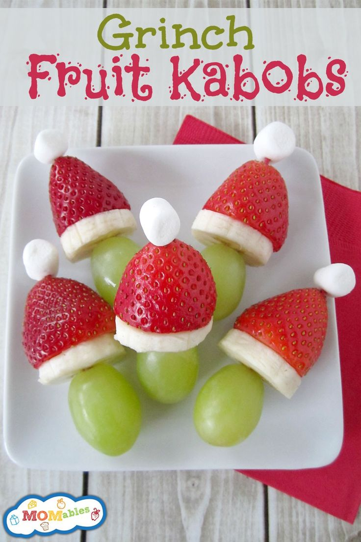 """How do you not love these??? So fun to do at a school """"treat!!""""  Grinch Fruit Kabobs"""