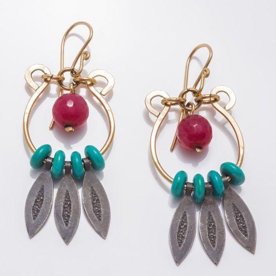 Long silver gemstone earrings  by JackAssayagJewelry on Etsy