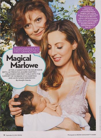 Susan Sarandon's daughter, Eva Amurri Martino wearing Heirloom ‪#‎Lingerie‬ by Claire Pettibone in the September 22, 2014 Issue of People magazine