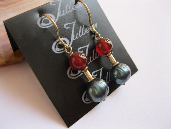Red Carnelian and Peacock Green Pearl Earrng in Gold Vermeil - A Christmas Treat