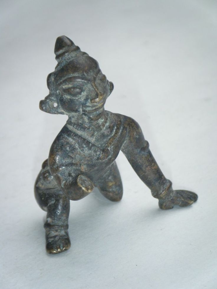 Antique Old Indian Brass Statue God Baby Krishna Crawling -6656