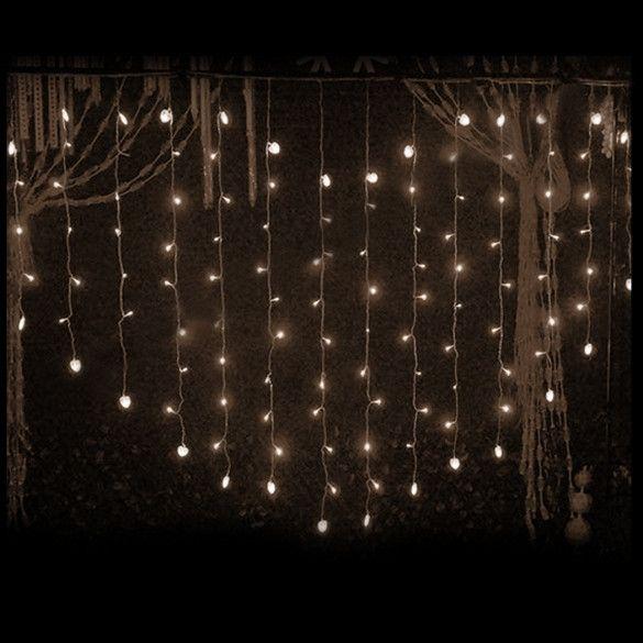 124 LED Heart Shape Curtain String Light Multi-color Waterproof Christmas Wedding Party Decor Light EU Plug