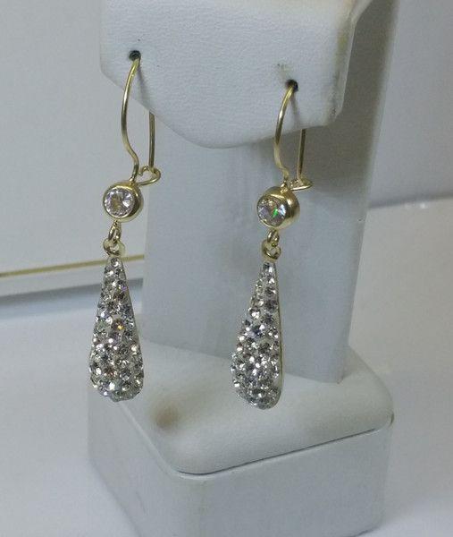 Vintage Ohrstecker - Ohrstecker Ohrringe Gold 333 Tropfen Glitzer OR103 - ein Designerstück von Atelier-Regina bei DaWanda