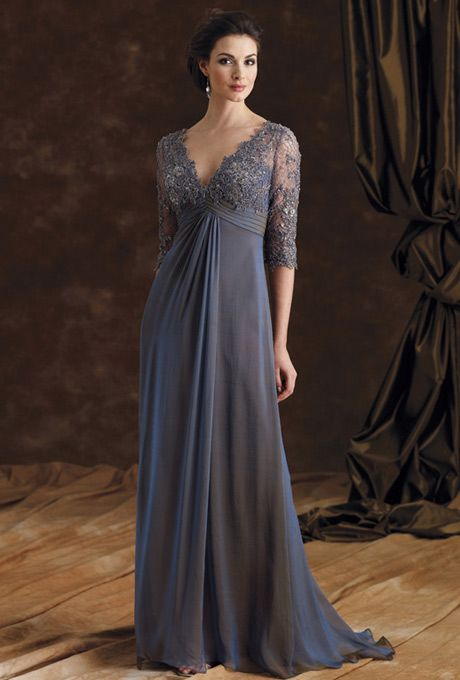 Iridescent silk chiffon A-line dress with hand-beaded lace bodice and three-quarter length sleeves, deep V-neckline, pleated chiffon empire waistline with front...
