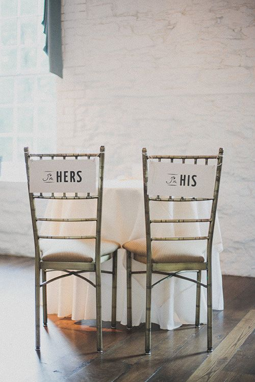 """Simple, modern """"his"""" and """"hers"""" signs   Brides.com"""