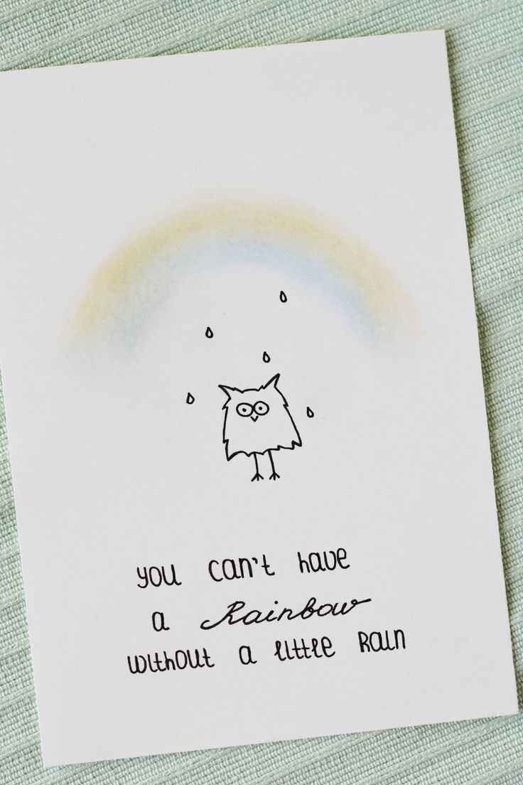 You can't have a rainbow without a little rain. Eule mit einem witzigen Motivationsspruch über Regenbogen. Doodles machen gute Laune. Some Joys Blog.