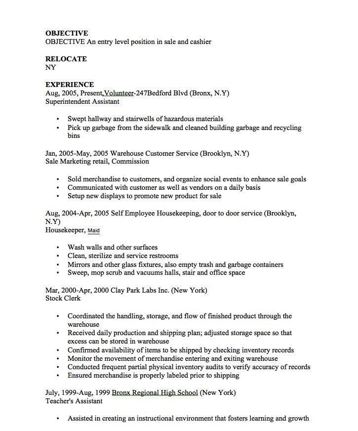 Entry Level Sale and Cashier Resume - http://resumesdesign.com/entry-level-sale-and-cashier-resume/