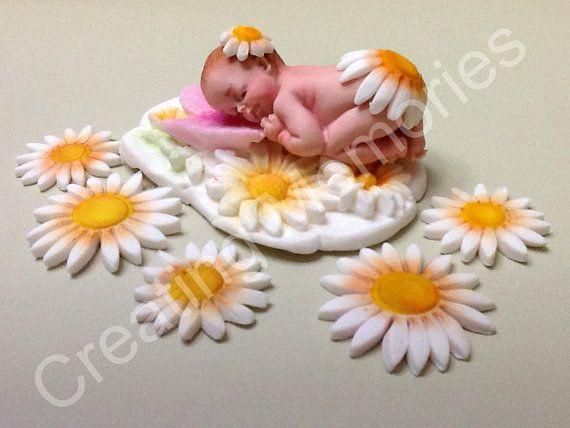 Little Daysi Baby /Shower, Birthday, Baptism, Cak Topper/Edible cake topper Gumapaste and Fondant. Gumpaste cake decorations for baby shower