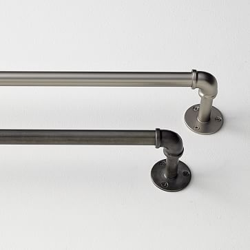 Kitchen curtain rod. Would use one large across the 2 windows. Industrial Pipe Adjustable Rods #westelm