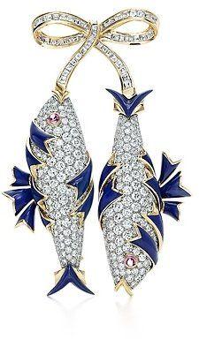 Jean Schlumberger Diamond two-fish brooch - Gemstone Brooches Tiffany