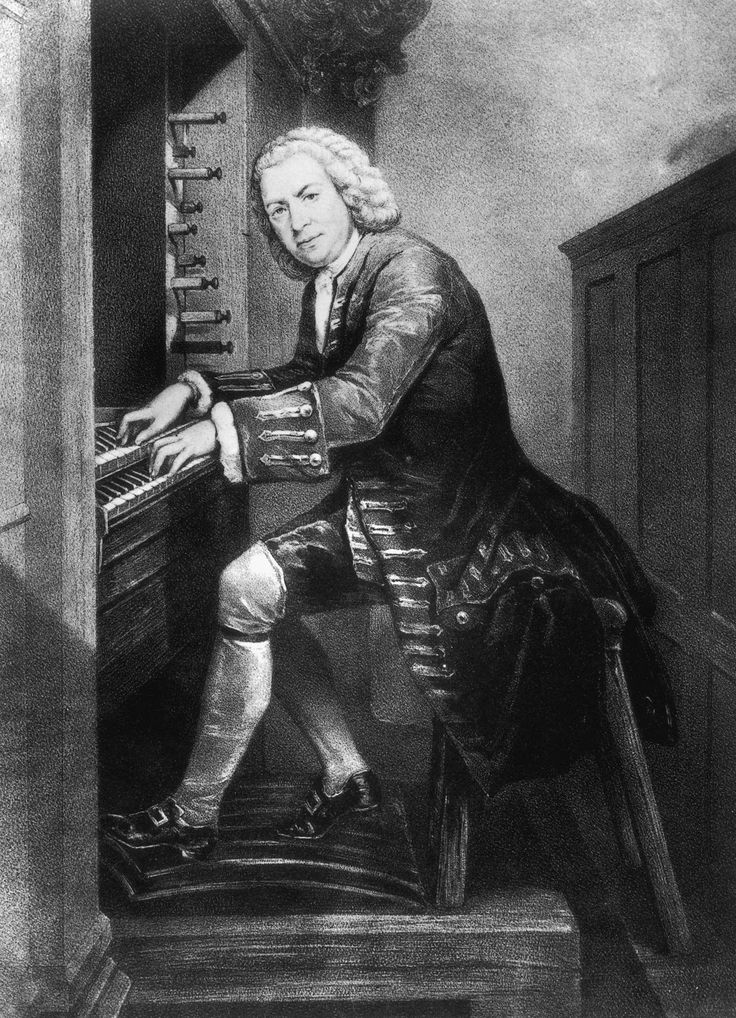 Books and Art: Johann Sebastian Bach (1685 - 1750), German musician and composer playing the organ, circa 1725. From a print in the British Museum.   Bach was a virtuoso organist, violinist, violist, harpsichordist and is today better known as a world renowned composer from the Baroque period of Western Classical Music. Admired by countless composers such as Mozart and Beethoven, Bach is described as one of the founding fathers of Classical Music.