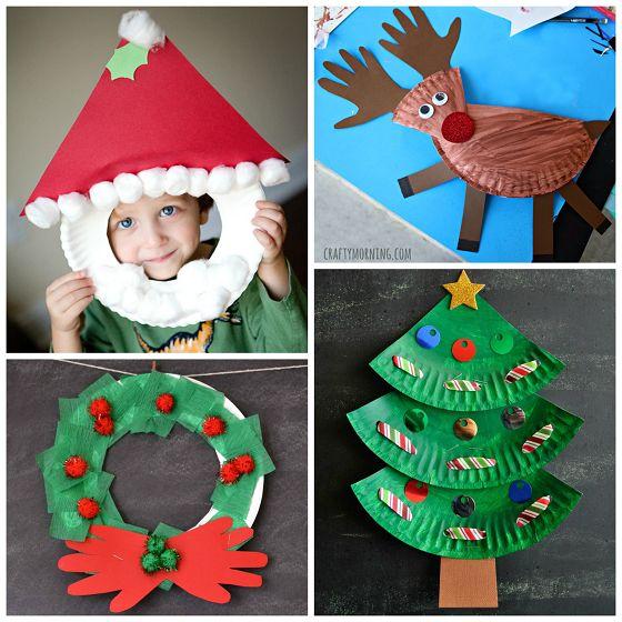 Reciclaje con platos de papel para Navidad