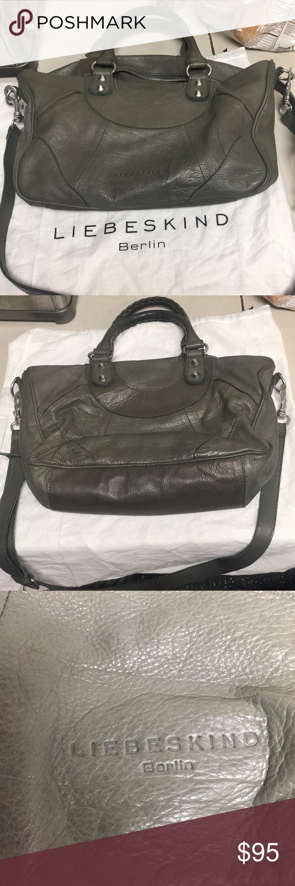 Liebeskind Berlin handbag Olive green genuine leather. Tote with crossbody strap. Several pockets and zipper compartments Inside, none outside. Very slightly used and comes with original dust bag. Liebeskind Bags Totes