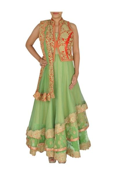 Pista green layered net Anarkali