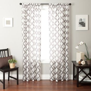 phyllis burnout window panel grey - Patterned Curtains