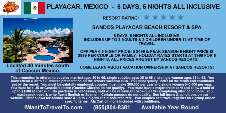Learn about vacation ownership at Sandos Resorts through the Royal Elite Vacation Club!  Get a sweet deal on your next all inclusive stay with this vacation offer.