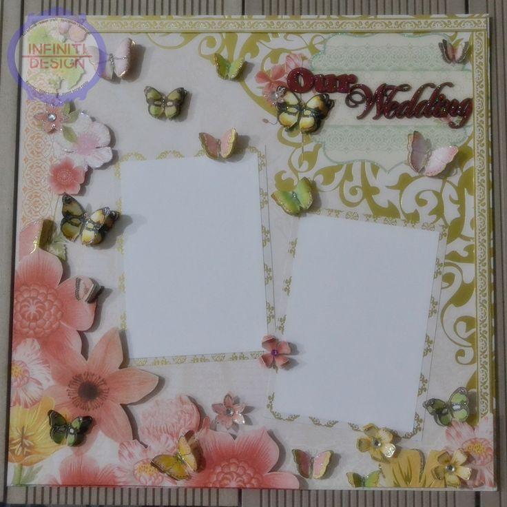 "wedding scrapbook 30x30cm using DCWV ""The Butterfly Garden Stack"""