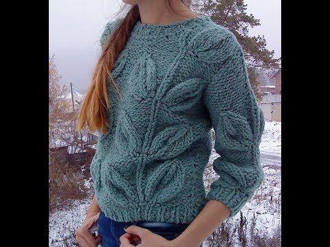 8fc7e1694d99 Пуловер с Узором Листья Спицами - 2019 / Pullover Patterned Leaves Knitting  - YouTube