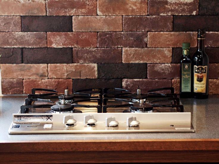 ブリックタイル/キッチン/注文住宅/インテリア/ジャストの家/tile/kitchen/natural/design/interior/house/homedecor