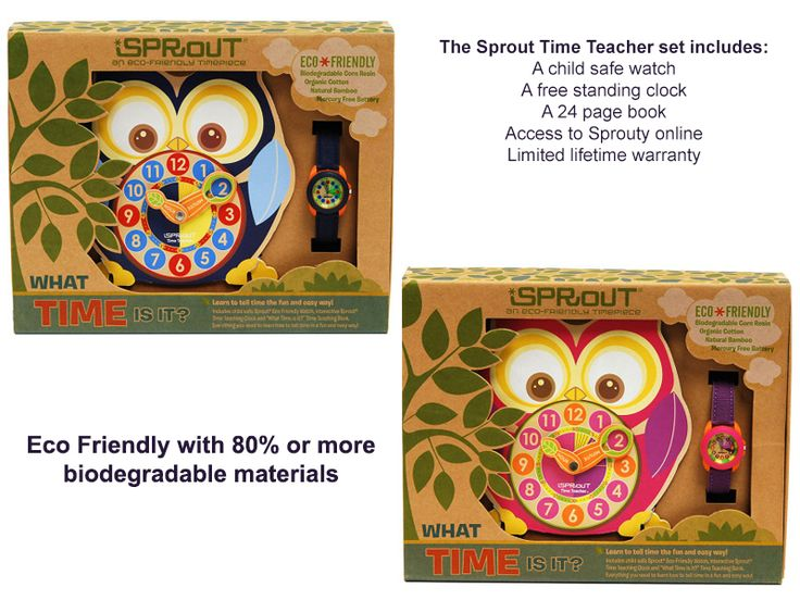 Want to teach your kids the time? Let Sprouty the Owl help them on their journey with this fun interactive system. http://www.ecoguardian.co.nz/product-category/watches-2/watches/time-teacher/