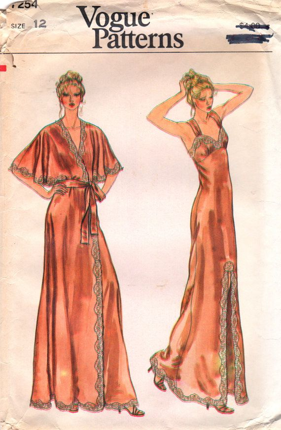 1970s Vogue 7254  Misses Sexy Nightgown Negligee Peignoir womens vintage sewing pattern  by mbchills