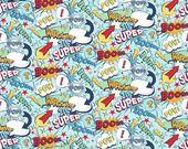 Super Hero words in blue - Riley Blake Designs : Tissus Habillement, Déco par marie-bobines