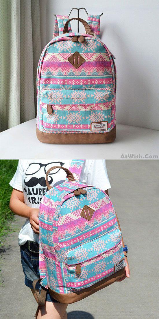 Fashion Pink Snowflake Geometry Totem Rucksack Travel Backpack Schoolbag for big sale ! #backpack #bag #totem #pink #geometry #fashion #rucksack