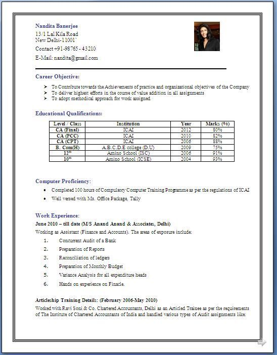For 5 Years Experience In Accounting | 3-Resume Format | Resume ...