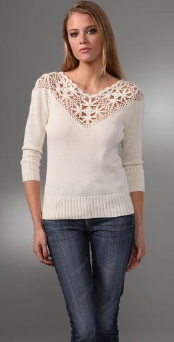 Beyond Vintage Crocheted Yoke Sweater