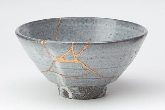 """Kintsukuroi (n.) (v. phr.) – """"to repair with gold""""; the art of repairing pottery with gold or silver lacquer and understanding that the piece is more beautiful for having been broken."""
