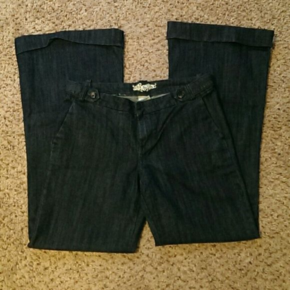"""Never worn trouser jeans! Revolt wide leg trousers jeans. Rolled cuffs at leg bottoms. Nice, thick, quality jeans, just too long for me. 32"""" inseam. Never worn. Dark wash. Revolt Jeans Flare & Wide Leg"""