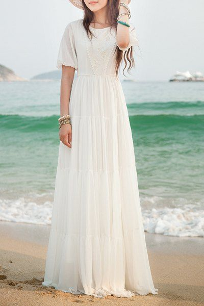 Bohemian Women's Jewel Neck Short Sleeves Maxi Dress