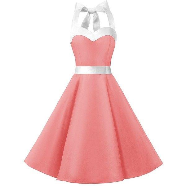 DRESSTELLS Vintage 1950s Rockabilly Polka Dots Audrey Dress Retro... (640 INR) ❤ liked on Polyvore featuring dresses, retro vintage dresses, prom dresses, rockabilly dresses, cocktail prom dress and red polka dot dresses