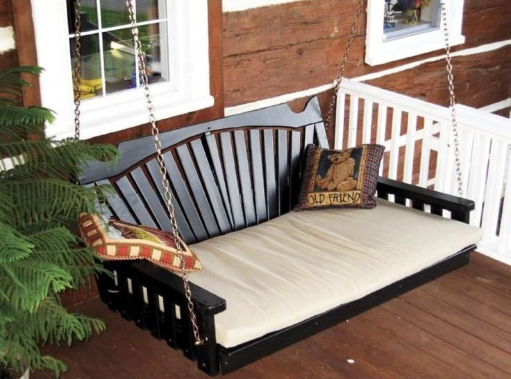 Furniture, Cleanly Laminate Floor With White Banister Plus Swinging Bed  Near French Window: Comfortable. Porch Swing ...