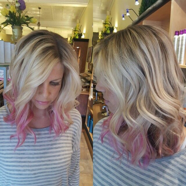 Pink painted ends on blonde balayage