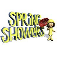 Girl Standing with Umbrella, Spring Showers Animated Clipart