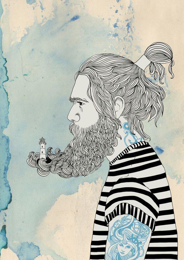 Kunst für Leichtmatrosen: Poster mit Illustration / poster with illustration of a bearded man by Hellicopter via DaWanda.com