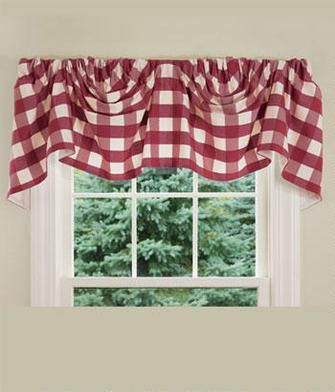 Buffalo Check Lined Austrian Valance 1 Decorating And
